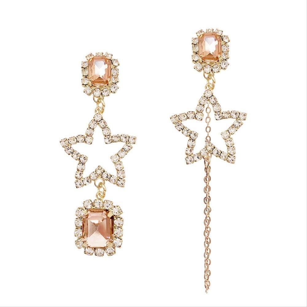 Pendientes Asimétricos Salvajes De Moda Pendientes Femeninos Joyería De Oreja De Estrella De Piedras Preciosas Largas De Moda