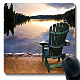 Ahawoso Mousepads Canada Muskoka Wooden Chair On Beach Relaxing Sky Lake Nature Cottage Adirondack Sunset Ontario Fall Oblong Shape 7.9 x 9.5 Inches Non-Slip Gaming Mouse Pad Rubber Oblong Mat Larger Image