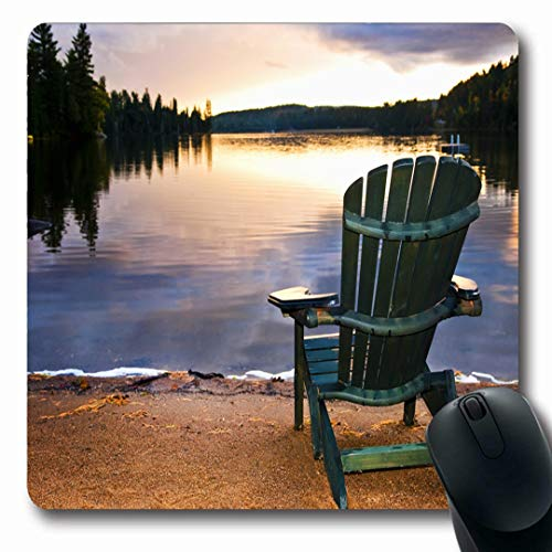 Ahawoso Mousepads Canada Muskoka Wooden Chair On Beach Relaxing Sky Lake Nature Cottage Adirondack Sunset Ontario Fall Oblong Shape 7.9 x 9.5 Inches Non-Slip Gaming Mouse Pad Rubber Oblong Mat