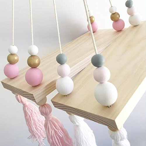 Katoot@ Wall Hanging Ornaments Tassel Pearl Pendant Wooden Board INS Nordic Style Home Kids Baby Bedroom Decoration Props Craftwork (Pink Gold) (Hanging Ornament Tassel)
