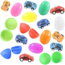 12 Toy Filled Easter Eggs With Miniature Wind-Up Car Toys, Assorted Colors - Ready To Hide and Hunt - Save Time With Convenient, Reusable Filled Eggs - Perfect As Easter Basket Fillers or Party Favors