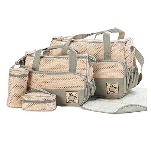 BigForest 5pcs/set Multifunction waterproof Baby Diaper Bag Nappy Changing Pad Travel Mummy Bag Tote Handbag Set Green