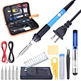 ETEPON 14-in-1 Iron Kit, Adjustable Temperature Gun with Desoldering Pump, Wire, Soldering Tips, Stand and Carry Bag ET001, Blue