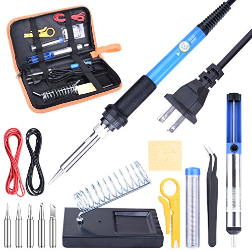 ETEPON 14-in-1 Iron Kit, Adjustable Temperature Gun with Desoldering Pump, Wire, Soldering Tips, Stand and Carry Bag ET001, Blue by ETEPON (Image #6)