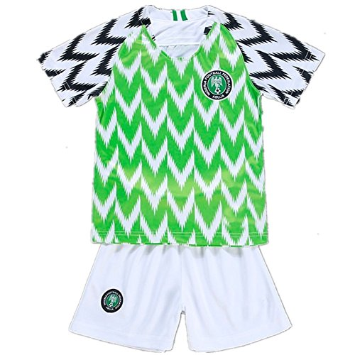 Nigeria Jersey 2018 World Cup with Soccer Jersey Football Shorts Set for Youth Children Medium Size by Wild Tribe