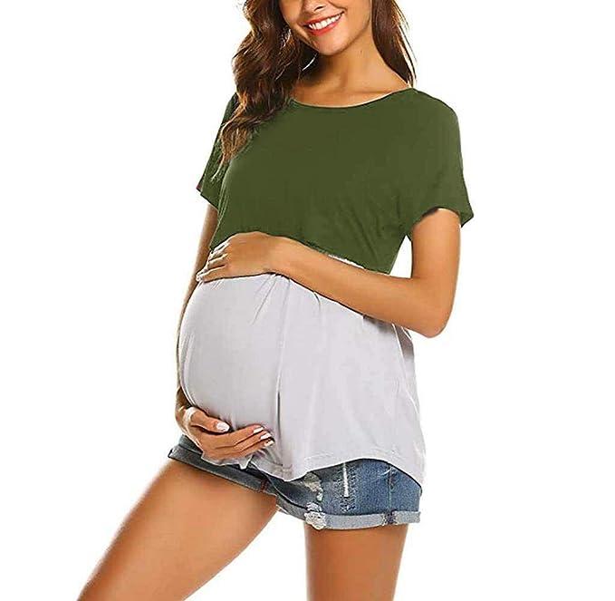 a0d540eb2c Jimmackey Donna Maglia per L'Allattamento Shirt Maglia Premaman Maglieria  per maternità Casual Top T