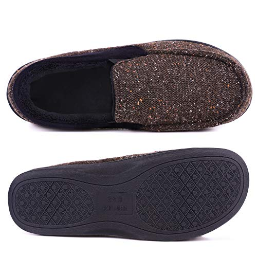 420b288a9904cf LongBay Men's Memory Foam Moccasin Slippers Plush Fleece House Shoes in  Indoor/Outdoor Loafer Style