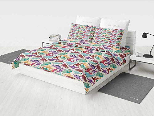 Kids Twin Girls Bedding Set Cute Monsters Pattern Dinosaurs Caricature Cartoon Style Funny Creature Playroom Print Printing Four Pieces of Bedding Set Multicolor