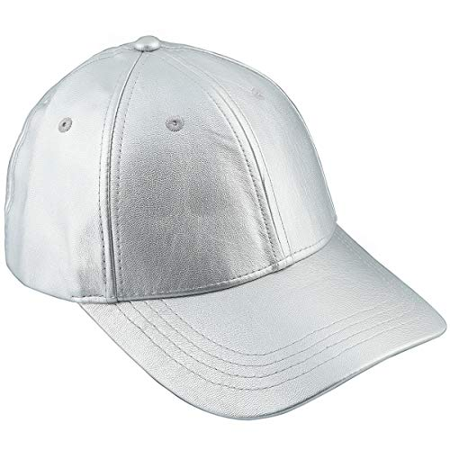Samtree Unisex Baseball Cap,Adjustable PU Leather Corduroy Sun Protection Sport Hat(01-Silver(Leather))