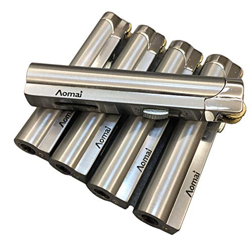 5 Pcs Aomai Slim Metal Jet Torch Flame Lighter Grinding Flint Butane Gas Windproof Cigarette Lighter - Silver
