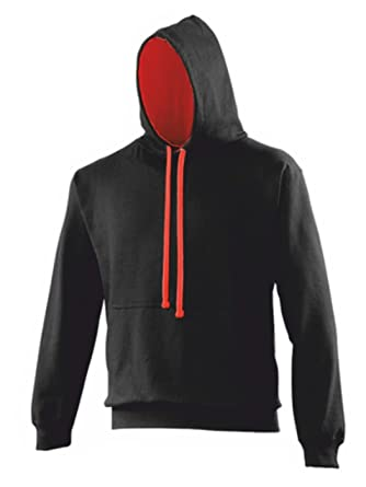 7eb1837e2 AWD Black Hoodie with Contrasting Red Hood Lining and Drawstings:  Amazon.co.uk: Clothing