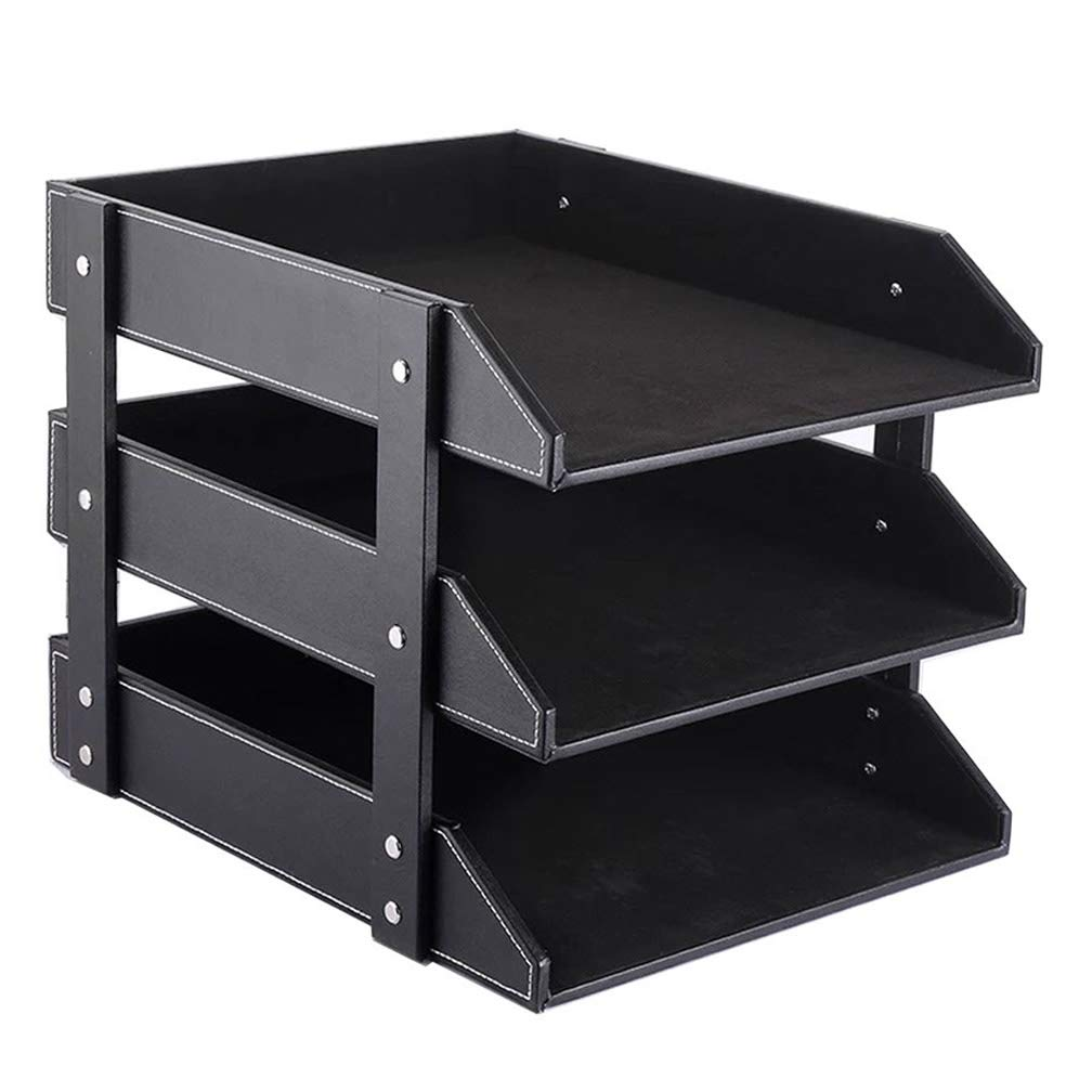 CARLWAY Letter Trays Stacking Supports, Leather Desk Organizer, Mail Sorter, File Paper Magazine Holder for Home Office Desktop Supplies - Black, 3-Tier by CARLWAY