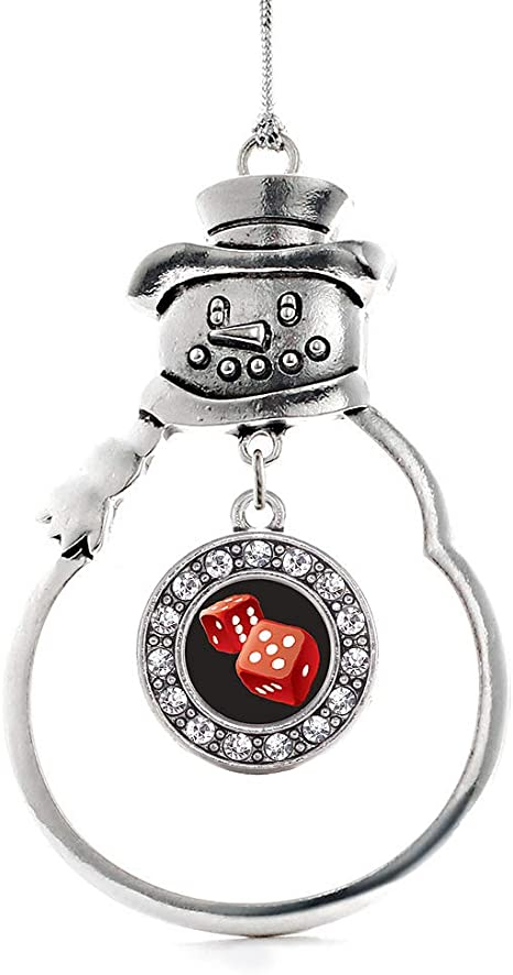 Inspired Silver Roll The Dice Charm Ornament Silver Circle Charm Snowman Ornament With Cubic Zirconia Jewelry Home Kitchen