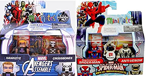 Comic Heroes Marvel Minimates Animated Series Avengers Assemble 2 pack Exclusive Crossbones Hawkeye + Ultimate Spider-Man, Deep Immersion Spider-Man faces off with Anti-Venom (Marvel Minimate Black Widow)