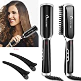 Hair Straightener Brush,NULUXE Pro Ceramic 3 IN 1 Hair Straightening Brush PTC Heating Technology with Adjustable Temperatures+Auto Temperature Lock+ LED Display