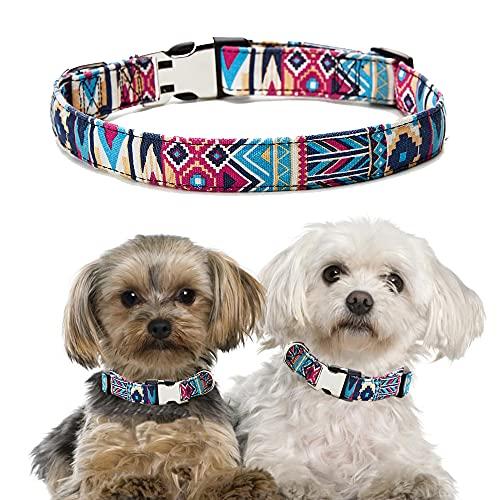 Xqpetlihai Dog Collar with Quick Release Half Metal Buckle Adjustable Safe Pet Collar Bohemian Pattern for Small Medium Large Dogs(Blue-M)