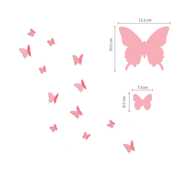 per Decorazione murale Rosa Walplus Farfalle e Fiori Adesivi 3D Grandi per cameretta dei Bambini