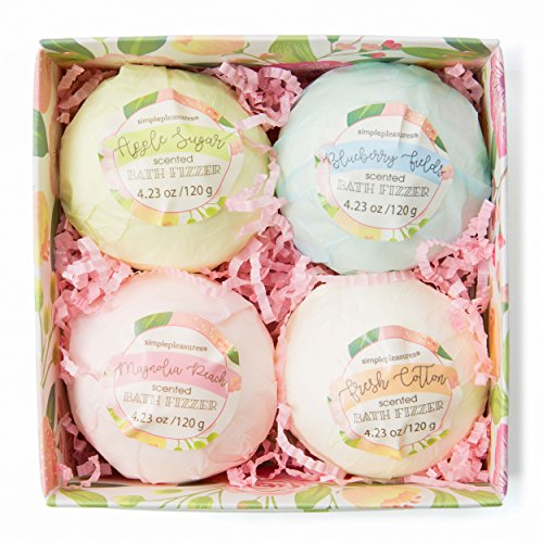 Luxury Bath Bombs Gift Set: Tri-Coastal Design Colorful Bath Bombs - Biodegradable Fizz Set for Bubble and Spa Baths - Apple, Blueberry, Peach, - Bomb Peach Bath