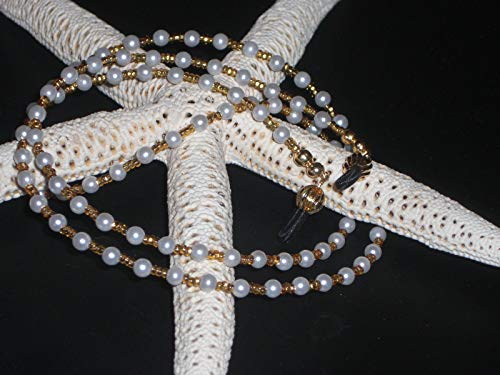 Beaded Handmade Eyeglass Chain Simulated Glass Pearls 28 inches Fancy - Pearl 28 Inch