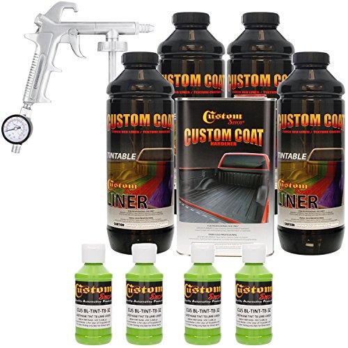 Custom Coat LIME GREEN 4 Liter Urethane Spray-On Truck Bed Liner Kit with (FREE) Custom Coat Spray Gun with Regulator