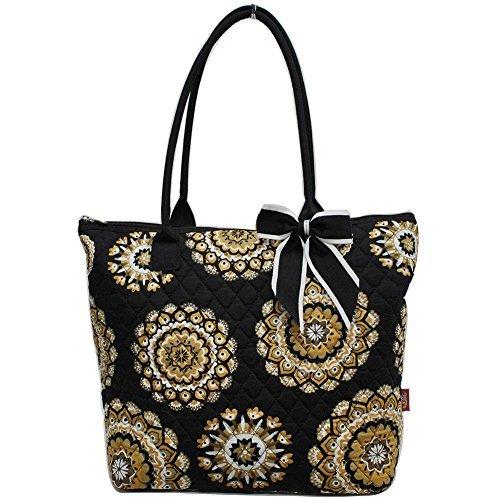 Ngil Quilted Cotton Medium Tote Bag 2018 Spring Collection (Mandala Dream Black)