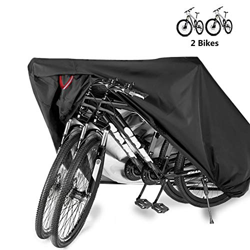 Bike Bicycle Cover Waterproof Outdoor Motorcycle Covers XL XXL for 2/3 Bikes Dust Rain Wind Snow Proof Lock Hole for Mountain Road Electric ()