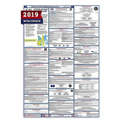 """2019 Wisconsin Labor Law Posters (Laminated) All-in-One State and Federal Approved, OSHA Compliant Vertical 27""""x40"""" [WI2-27X40-ENG]"""