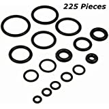 225 Piece O Rings Assortment Set - Heavy Duty Rubber Rings for Professional Plumbing, Supplies, Tools, Automotive, Garage, Plumber, Mechanic, Workshops, Repairs, Air & Gas Connections -By Katzco