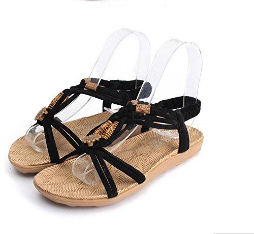 Highdas 2016 Verano Moda Mujeress Sandalias Gladiator Brief Herringbone Flip-flop Casual Señoras Zapatos A-Negro