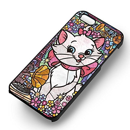 Stained Glass Cat pour Coque Iphone 5 or Coque Iphone 5S or Coque Iphone 5SE Case (Noir Boîtier en plastique dur) D6Y0EH