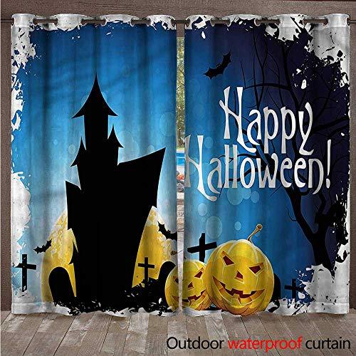 (cobeDecor Halloween Home Patio Outdoor Curtain Gothic Ancient Castle W84 x L108(214cm x)