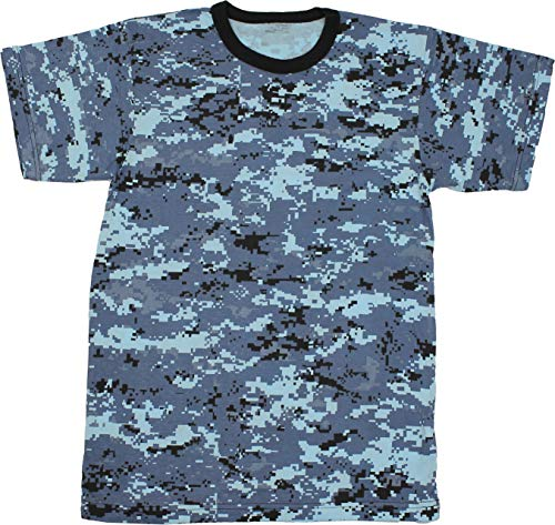 (Army Universe Sky Blue Digital Camouflage Short Sleeve T-Shirt Pin - Size 2X-Large (49