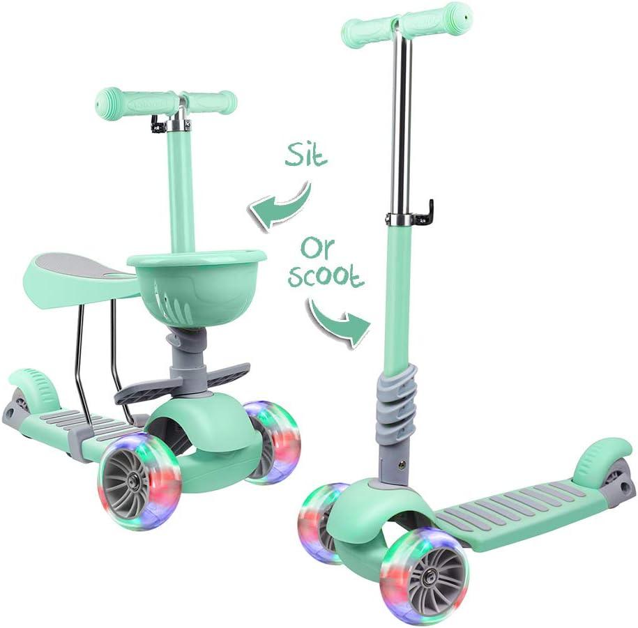 Amazon.com: Patinete para niños de 3 ruedas, 2 en 1, ruedas ...