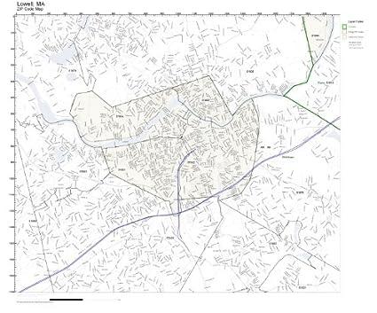 Lowell Ma Zip Code Map.Amazon Com Zip Code Wall Map Of Lowell Ma Zip Code Map Not