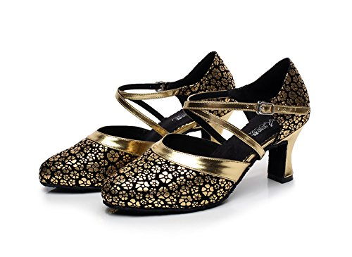 Ballroom Floral Shoes Shoes heeled7cm Heels Satin Salsa Tango JSHOE Gold Samba Jazz For Sandals Latin EU35 Dance Modern Our36 UK4 Women JSHOE High Chacha xZCqC8Yw