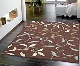 Ottomanson Ottohome Contemporary Leaves Design Modern Area Rug With Non-Skid Rubber Backing 8\'2\
