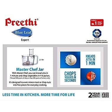 Preethi MG214 Blue Leaf Expert Mixer Grinder, 750W, 3 jars with Master Chef Jar 11