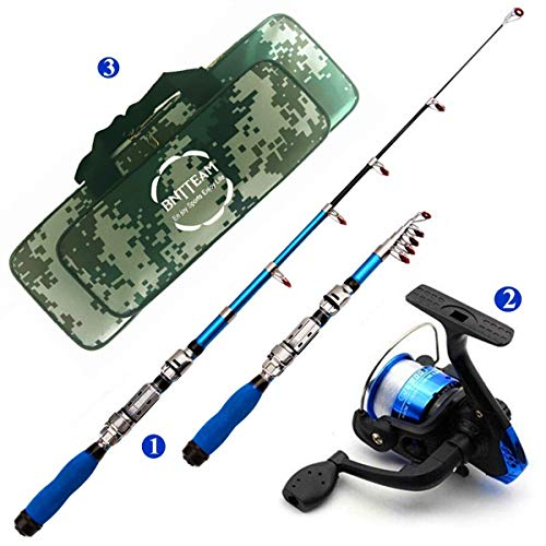 Mini Reel Bag - ECOOLBUY Mini Spinning Reel and Rod Combos Telescopic Portable Hand Hard 99% Carbon Fiber Sea Fishing Rod & Reel + Artificial Lures + Fishing Line Set (Blue with Bag 1.5M/ 59 inch / 4.9ft)