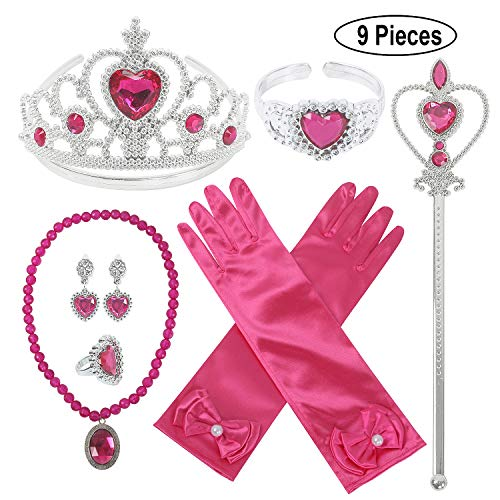Princess Dress Up Party Accessories for Princess Costume Gloves Tiara Wand Necklace Earrings Bracelet and Ring (Rose Gift Set of 7, 9pcs]()