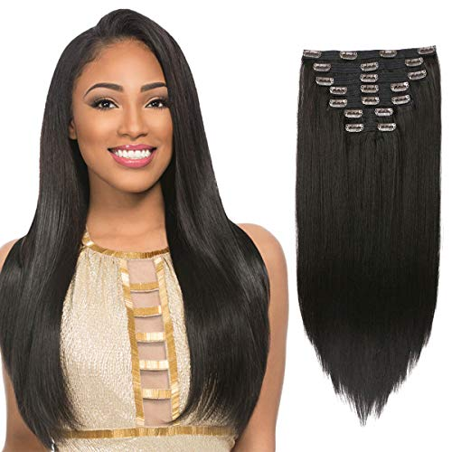 FASHION LINE Synthetic Clip in Hair Extensions Double Weft Full Head Straight/Body Wave/Deep Wave 7 Pieces(20