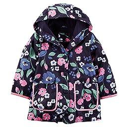 Carter\'s Little Girls\' Jersey Lined Raincoat Jacket (2T, Floral)