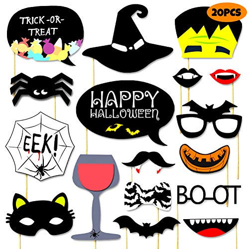 WANTU Halloween Photo Booth Props - Funny Trick or Treat Photo Booth - Halloween Party Favor Supplies - 20 Counts -