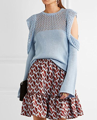 YuanDian Mujer Otoño Invierno Causal Flounced Anchos Trompeta Mangas Calado Tejido De Punto Sueter Ronda Cuello Sin Tirantes Pullover Jersey Azul