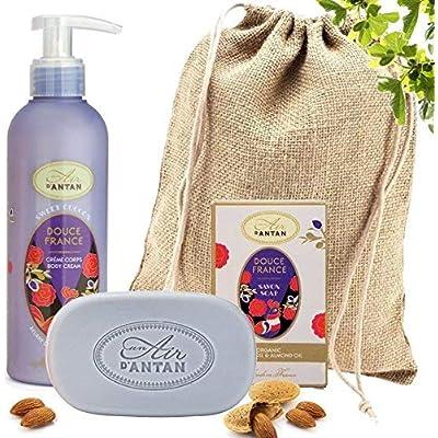 Französisches Beauty Set DOUCE.Un Air D'Antan® 1 Stück Seife 100g Mit Bio Ölen,1 Bodylotion 200ml Mit Sheabutter/Einem…