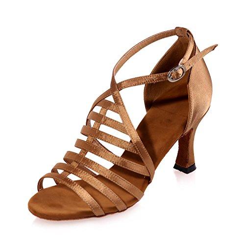 Latin YC Salle Danse brown De Sandales De Chaussures Personnalisable Cubain DéButant artificiel Cuir L Femme De Bal Professionnel gxqwH00