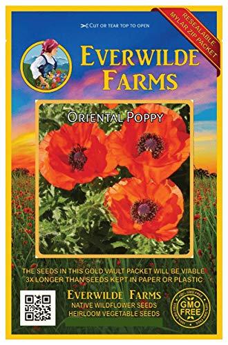 (Everwilde Farms - 2000 Oriental Poppy Wildflower Seeds - Gold Vault Jumbo Seed Packet)