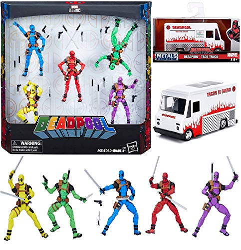 Slapstick Foolkiller Solo Deadpool Squad Pack Legend Marvel Rainbow Action Figures Bundled with Deadpool Taco Truck Die-Cast Metal