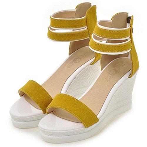 RAZAMAZA Mujer Moda Comodo Dulce Tacon de Cuna Peep Toe Sandalias con Cremallera amarillo