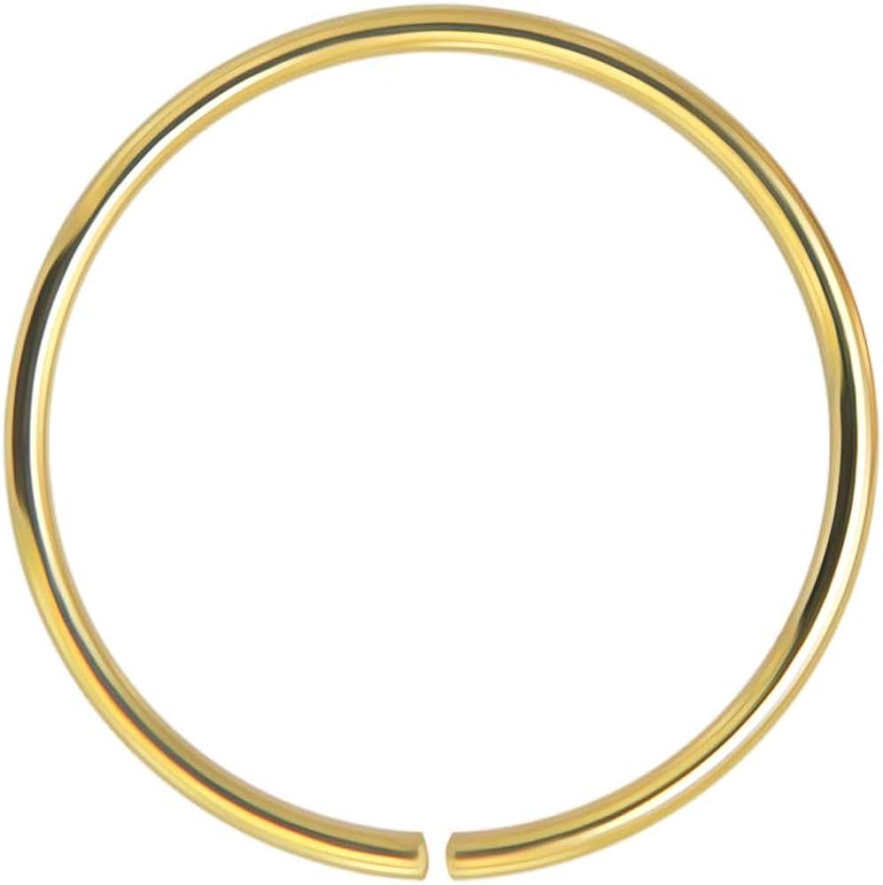 14K Gold 22 Gauge 8MM Durchmesser Nahtlose kontinuierliche offene Hoop Nase Nase Piercing Ring