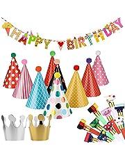 Feesthoedjes voor verjaardagen, kinderverjaardagen, feesthoeden, luchtrood, fluitje en Happy Birthday-banner, partyhoeden, partyhoeden, feestbenodigdheden, hoedje, verjaardagshoed voor kinderen, festival, babyshower